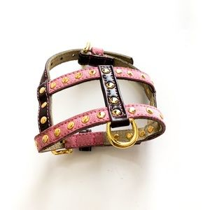 Statement Leather & Gold Stud Pink/Brown Harness